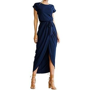 Navy Slit Maxi Dress